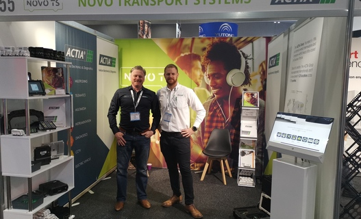 Tom Worthy (Actia UK) and Scott Kyle (Novo Transport Systems) at 2019 Bus Expo